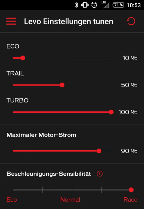 Turbo Levo Mission Control App Einstellungen