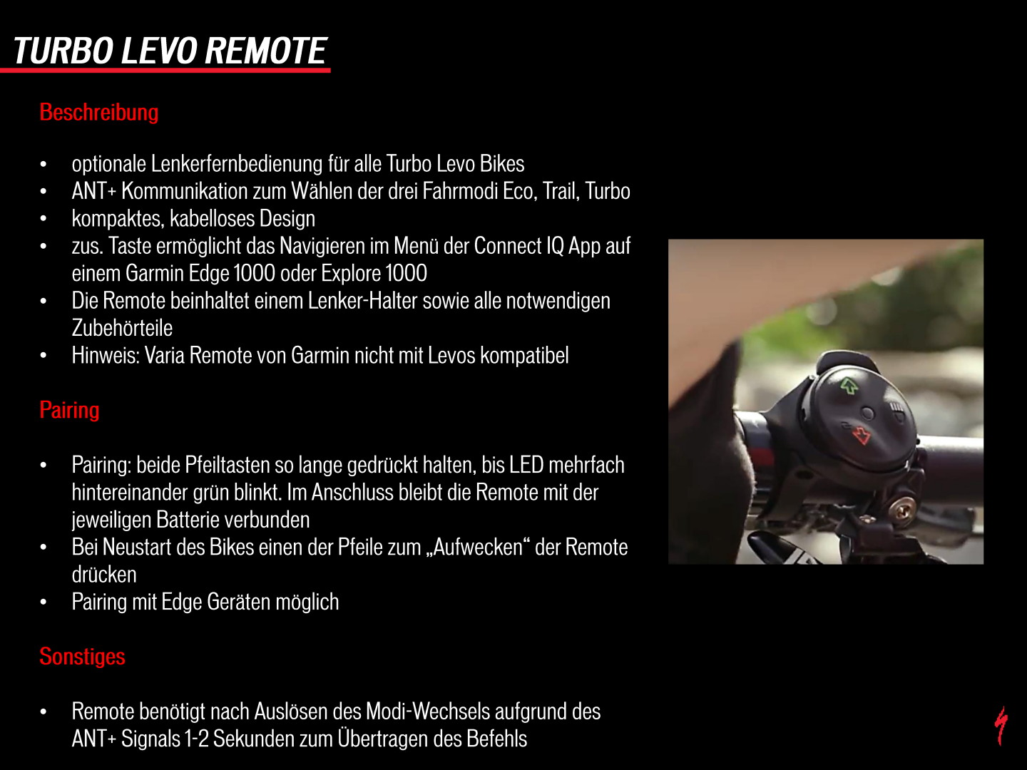 Specialized Turbo Levo Remote Anleitung